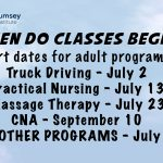 Start dates for adult programs