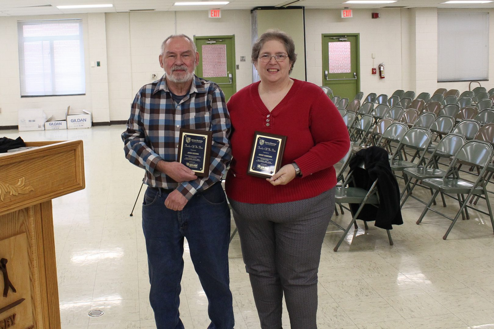 John Godish, Electrical Instructor, and Ginny Harford, Practical Nursing instructor posing with their Teacher of the Term awards.