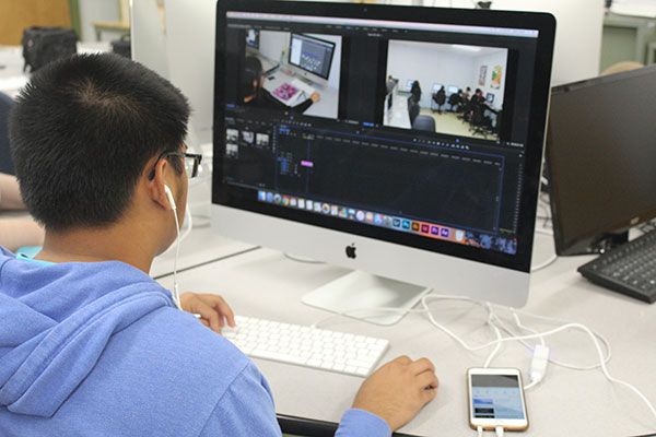 Multimedia student editing video